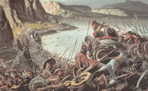 Greeks hold the pass at Thermopylae