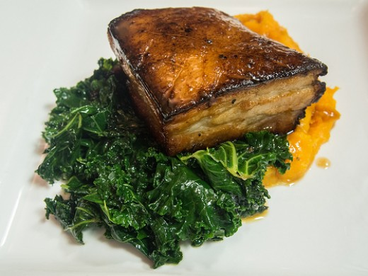 Grilled Pork Belly and Sauteed Kale