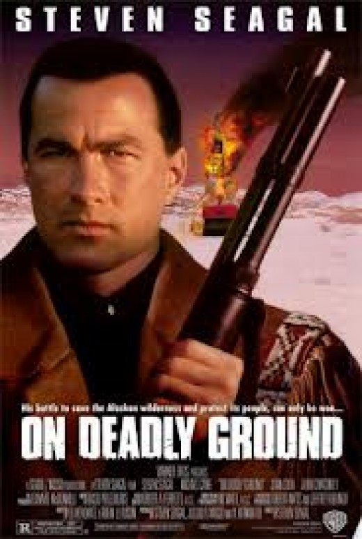 Steven Seagal stars in On Deadly Ground. The film involves environmental issues. He wrote, produced and starred in this film.