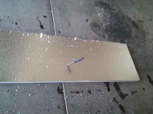 First attempts at cutting expanded polystyrene insulation.  What a mess!