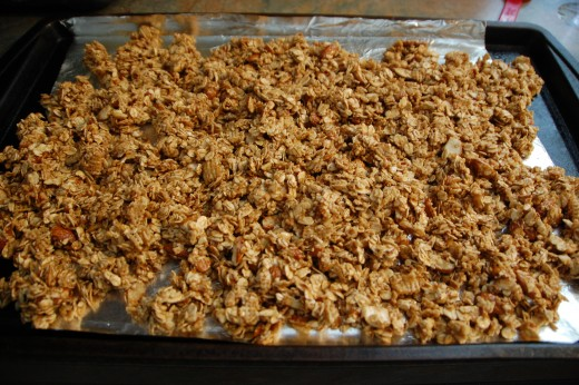 The granola is ready to get put in the oven