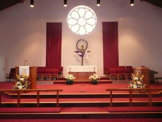 """The """"church"""" altar."""