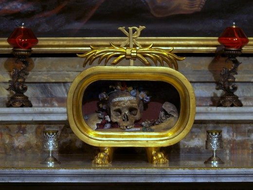 The skull of St. Valentine of Rome is an important relic, kept at the church of Santa Maria in Cosmedin.