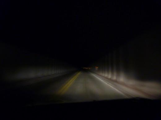 Dark tunnel in Zion National Park, Utah