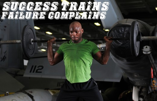 Motivational Quotes For Exercise/Workout, Weightlifting man (Success trains failure complains) U.S. Army