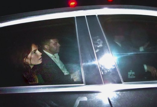 Amanda Knox leaves the prison in Perugia on a car with Corrado Maria Daclon, secretary general of the Italy-USA Foundation