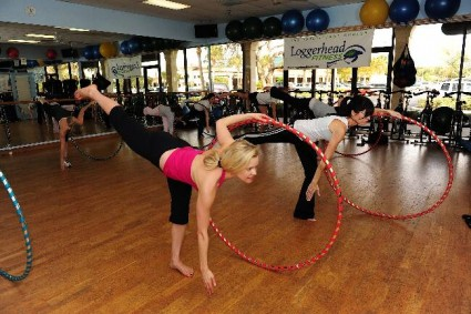 Exercising with hula hoops