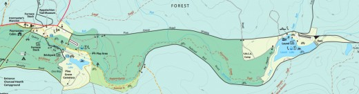 A map that shows the trail passing through Pine Grove Furnace State Park