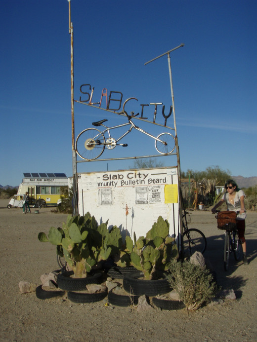 The entrance to Slab City and the community bulletin board.