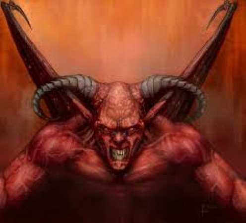 This depiction of Satan is gruesome and gross looking. The devil has been depicted as having horns and hooves feet and carrying a pitchfork.