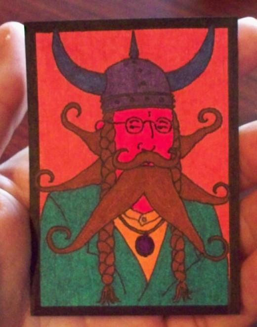 surreal retro mustache crazy viking sold for $0.99