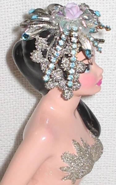 Close up of headpiece I made for her using vintage jewelry.