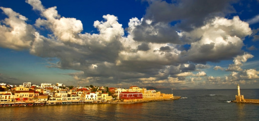 The old harbor in Chania, Crete. Clouds and rain are a rare occasion in an island which has sunshine for 9 months of the year.