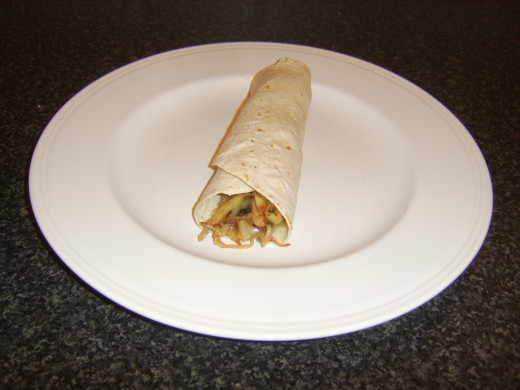 Peking lemon sauce turkey and vegetable tortilla wrap