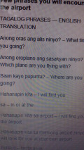Tagalog Phrases and Words translated to English