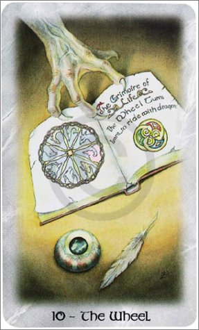 The Celtic Dragon Tarot by D.J. Conway (Author), Lisa Hunt (Artist). This Tarot Card is The Wheel
