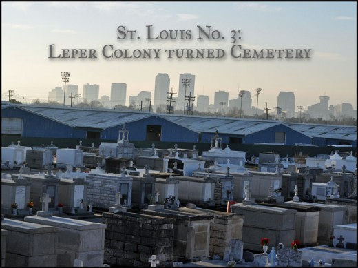 View of the Cemetery with the blue roofs of the Fairgrounds and the cityscape in the distance.