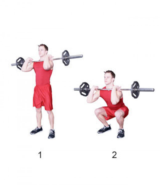 The front squat will emphasize the quadriceps and serve as a great method for building muscle mass.