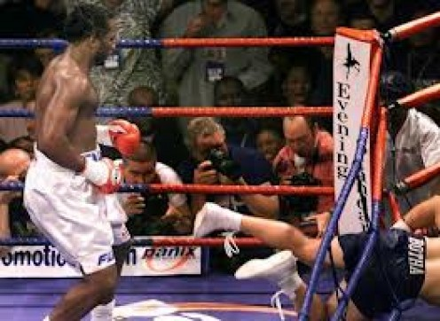 Lennox Lewis is seen knocking Frans Botha out in round 2. Botha has tangled with all the great heavyweights of his era including Lewis, Mike Tyson and Evander Holyfield.