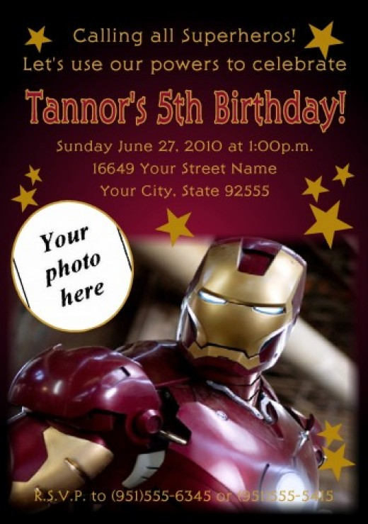 Iron Man Themed Party Invitations