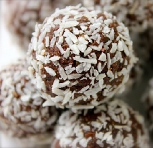 Protein balls tossed in coconut