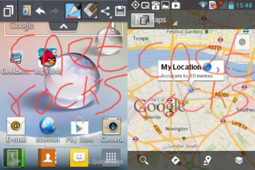 In a screenshot one could draw using various pencil tips and colors to further edit what is shown on screen.
