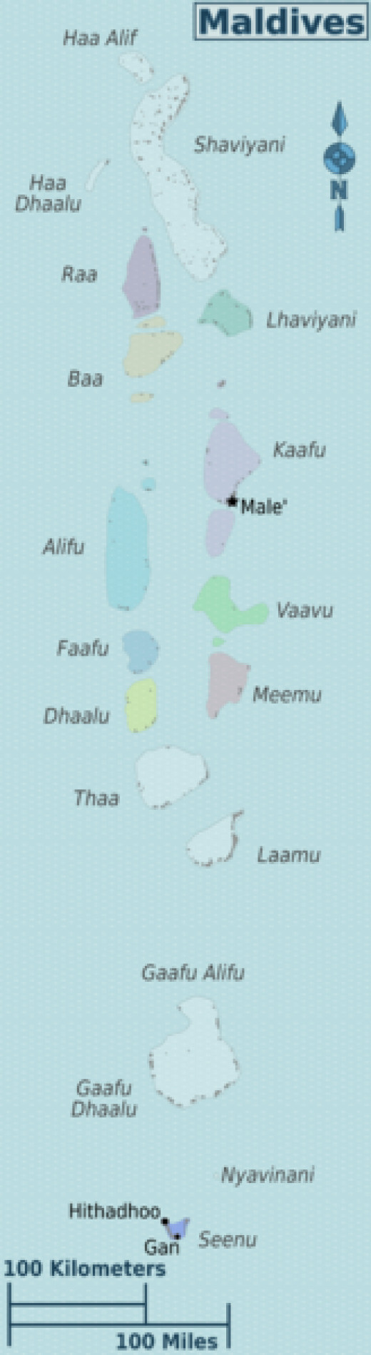 Maldives regions map