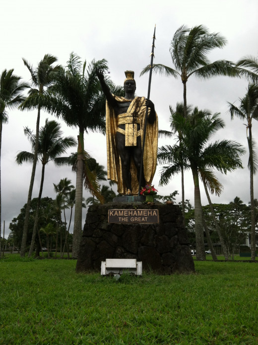 A Statute of King Kamehameha the Great at the Wailoa River Recreation Area