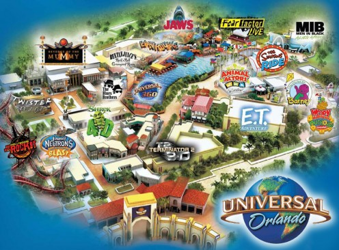This map shows you the area where each attraction at Universal Studios Orlando is located.