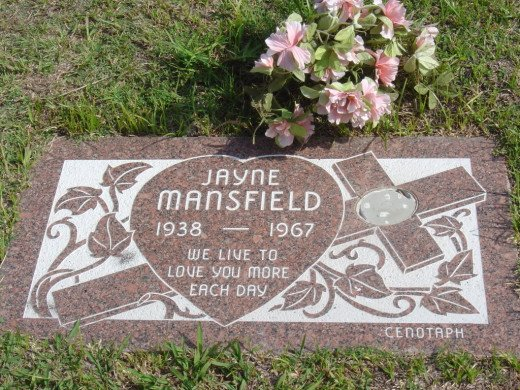 Mansfield's cenotaph in Hollywood with incorrect birth year.