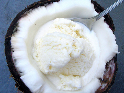 Coconut Ice Cream in a Coconut Half