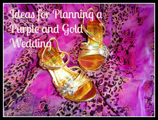 "A photo that I took at a friends wedding then wrote a hub about ""Ideas for Planning a Purple and Gold Wedding"". I love the colors for this and expect a lot of pins from it. White text keeps it elegant yet still easy tor read."