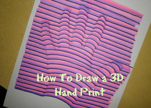 "An art lesson that I wrote about: ""How to Draw a 3D Hand-Print"". I will also probably make another MFP like this for ""How to Draw an Optical Illusion  Hand-Print"" and then add the keywords to the hub."