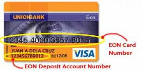 The card has a CARD NUMBER (in big prints) and a bank account number (small print below the account name)