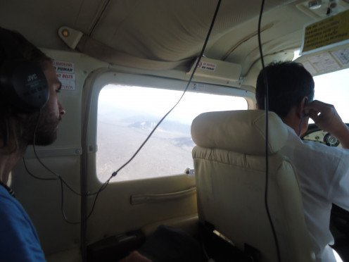 In the plane for our flight over the Lines of Nazca