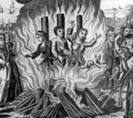 "Condemned ""witches"" burning. Unknown artist, circa 1800s."