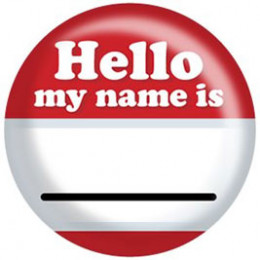 red hello name badge
