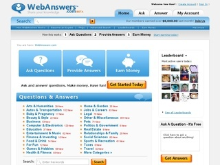 WebAnswers homepage with many categories to choose from.