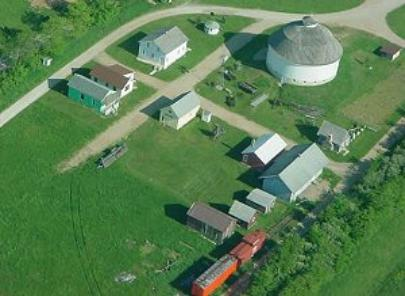 Aerial view of the living history village of Loyal