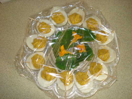Garnished with Parsley and Nasturtium Flowers, Ready to Transport