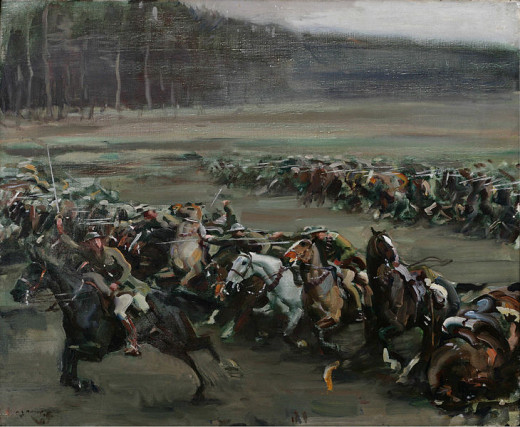 Charge of Flowerdew's Squadron, AJ Munnings, 1916.  From the Beaverbrook Collection of War Art