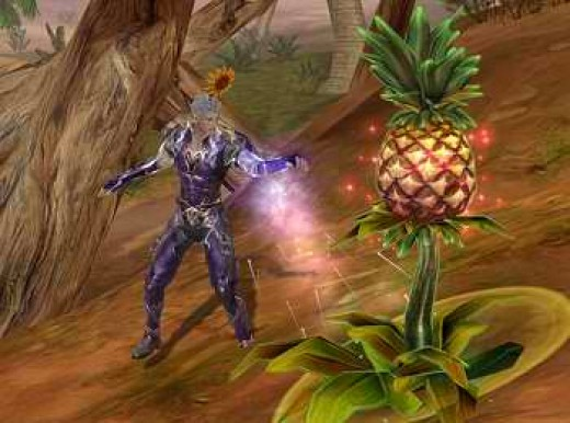 A character performing essencetapping on a plant.