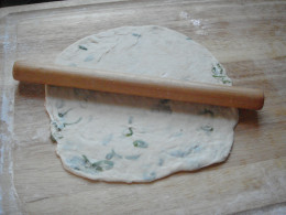 Fig.7. The pancake is made from each small piece is ready to be fried