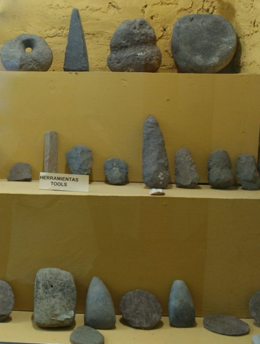 Orosi period tools in a private museum near Moyogalpa.  The collection here includes many ceramic pieces including unusual urns for the remains of the island natives.