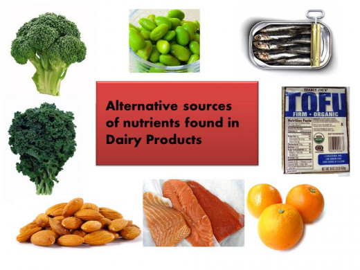 Broccoli, kale, soybeans, sardines, tofu, oranges, freshwater fish like salmon, and almonds should all be a part of a dairy free diet to make up for dairy's missing nutrients.