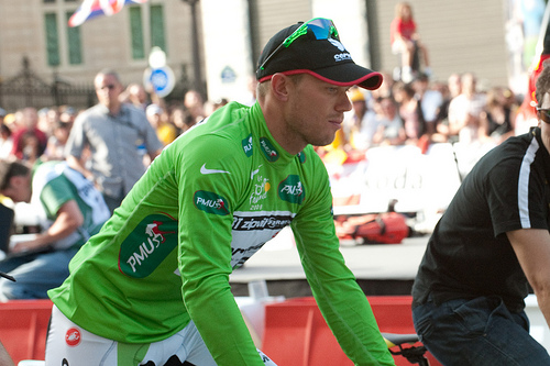 Thor Hushovd in the green sprinters jersey at the 2009 Tour de France