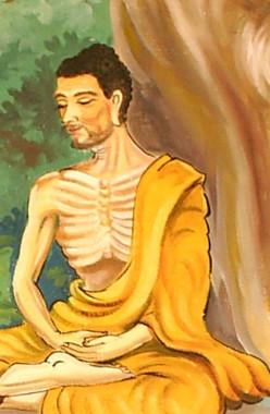 An artist's portrayal of Siddhartha Gautama meditating.