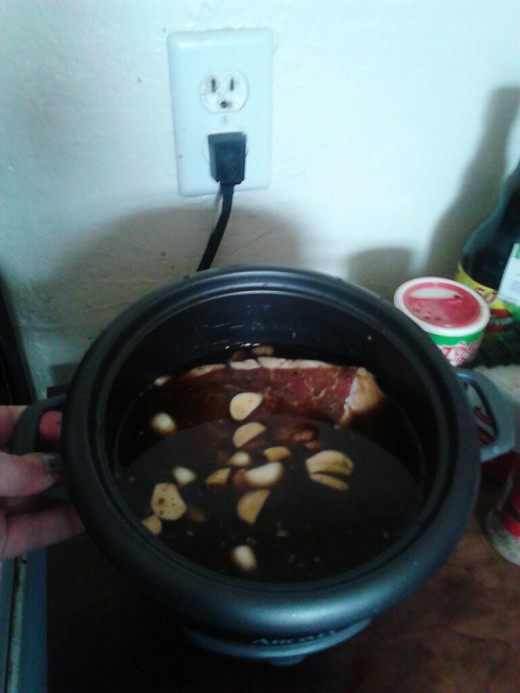 Place your Steak and pour your Marinade into the bottom chamber of your Steamer.
