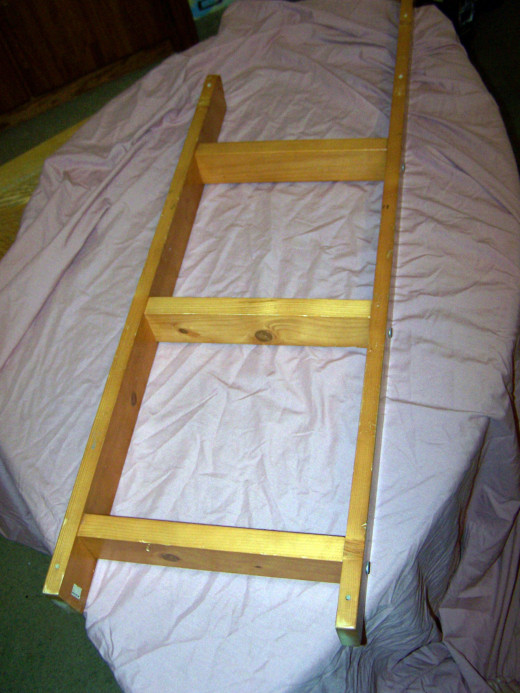 This bunk bed ladder was perfect, but you can use any kind of ladder you find; this one was small so we hung it horizontally, but you can make a vertical shelf too.