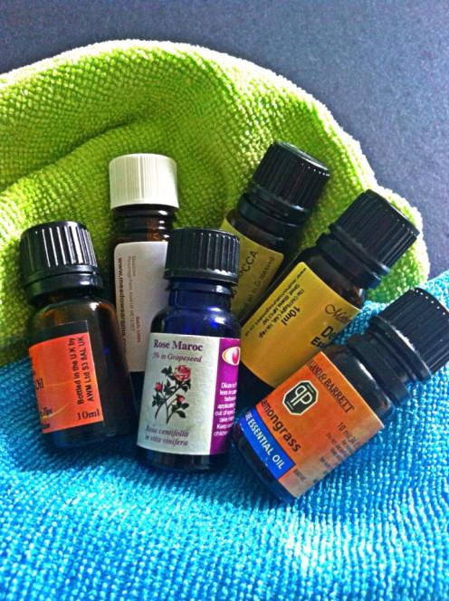Essential oils in dark bottles